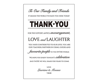 Portrait style printed thank you cards wedding stationery with envelopes
