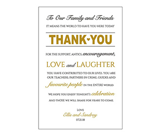 Portrait style printed thank you cards wedding stationery with envelopes -