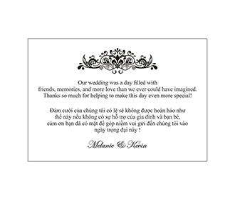 Printed thank you cards wedding stationery with envelopes -