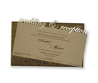 Pull out cardboard wedding invitation in copper