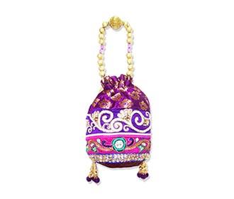 Purple Broacde Potli handbag