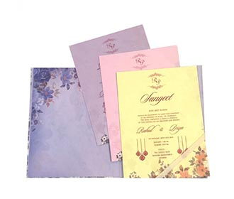 Purple colour floral wedding invite with multicolor inserts