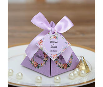 Purple Floral Pyramid Wedding Favor and Gift Boxes
