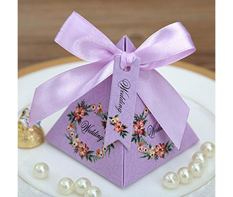 Purple Floral Pyramid Wedding Favor and Gift Boxes -