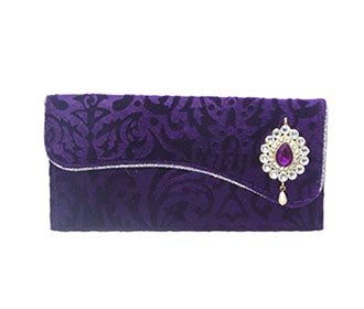 Purple Self Velvet Envelope -