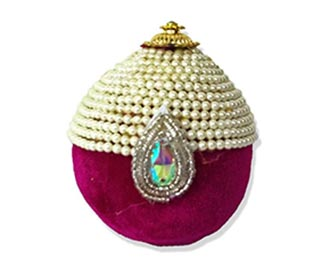 Purple velvet & pearls decorated coconut -