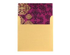 Purple Wedding Invitation Card with Golden Satin Design