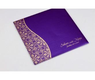 Purple wedding invite with golden paisley design