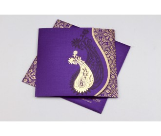 Purple wedding invite with golden paisley design