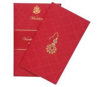 Radha- Krishna Wedding Card in Crimson & Golden Colour