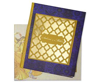Radha Krishna themed royal indian wedding invitation