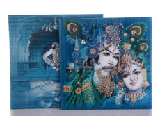 Radha Krishna Design for Wedding Card in Turquoise & Golden