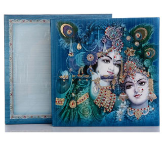 Radha Krishna Theme Wedding Cards with Peacock Image