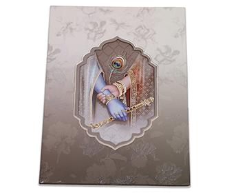 Radha Krishna wedding invitation card with Ganesha, Peacock feather & Bansuri