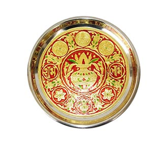 Red & gold meenakari Puja Thali -