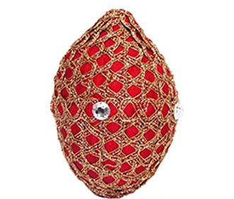 Red & gold with stones Decorated Coconut -