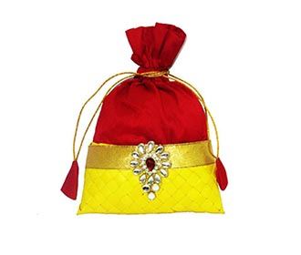 Red & Yellow silk Potli -
