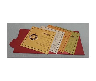 Red and Golden tamil wedding card with laser cut Ganesha