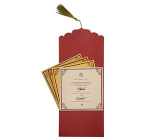 Red color multifaith Indian wedding card in floral golden pattern