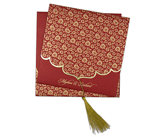 Red color multifaith Indian wedding card in floral golden pattern -