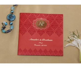 Red colored floral wedding invite