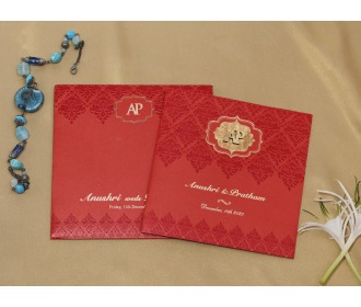 Red colored floral wedding invite -
