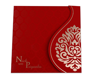 Red colour Indian wedding card with golden motifs -