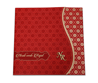 Red colour modern Indian wedding card with flower pattern