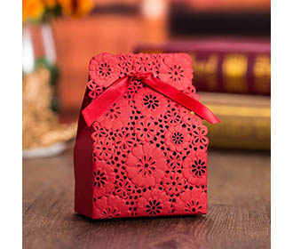 Red Flower Laser Cut Engagement and Wedding Favor Boxes -