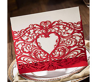 Red Heart Design Lasercut Wedding Invitation Card