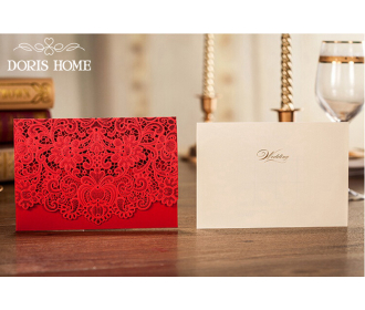 Red Laser Cut wedding invitation cards with Embossed Flower