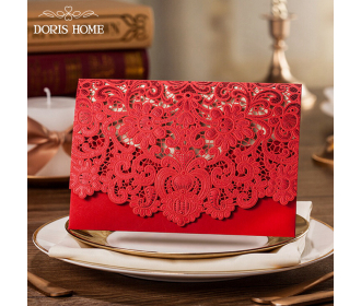 Red Laser Cut wedding invitation cards with Embossed Flower -