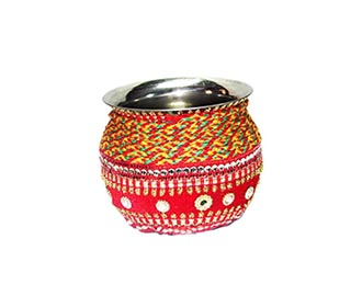Red mirror work Small kalash -