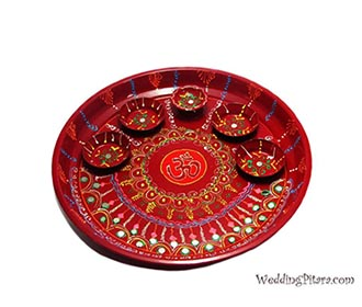 Red painted Puja Thali
