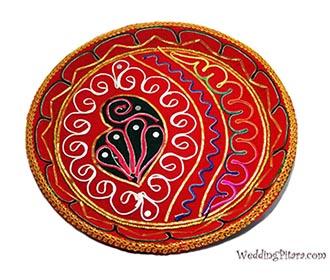 Red resham work Puja Thali -