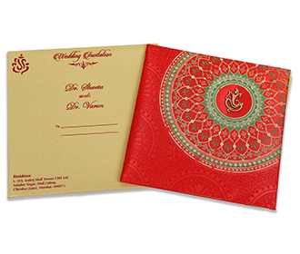 Red Satin Indian wedding invitation with Mandala patterns