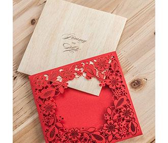 Red Square Floral Vintage Laser Cut Wedding Invitation