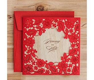 Red Square Floral Vintage Laser Cut Wedding Invitation -