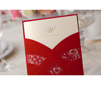 Red Wedding Invitation Cards With Laser Cut Pearl Pattern