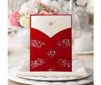 Red Wedding Invitation Cards With Laser Cut Pearl Pattern -
