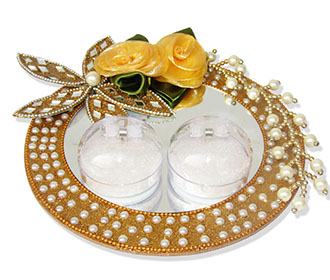 Ring Ceremony Tray in Golden with Flowers & White Pearls -