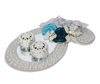 Ring Ceremony Tray in Silver with Blue Flowers & Pearls -