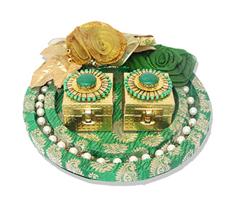 Ring Platter in Green Brocade with Paisley Design & Pearls -