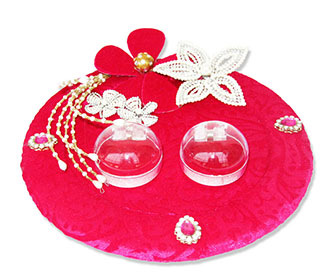 Buy wedding decoration accessories online wedding ceremony indian wedding ceremony essentials ring platter in pink shaneel with silver flowers junglespirit Gallery