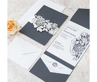 Rose theme exquisite laser cut invite in black shimmer