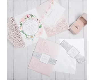 Rose theme Tri-fold Laser Cut Wedding Invitation in pink colour