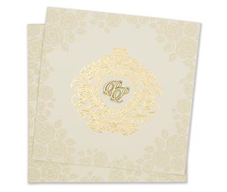 Rose themed cream colour indian wedding invitation card
