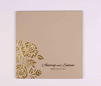 Rose themed indian wedding invitation in light brown colour