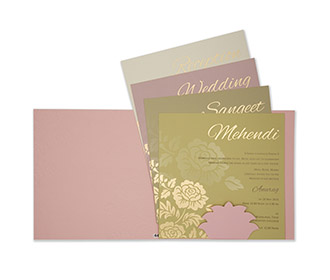 Rose themed indian wedding invitation in rose gold colour