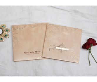 Royal beige colored wedding invite -